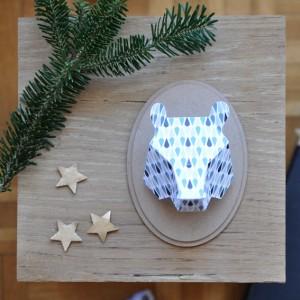 Trophée papier // tête d'ours // motif gouttes par Green and Paper