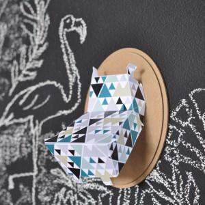 Trophée papier // tête d'hippopotame // motif triangle par Green and Paper