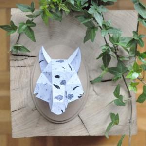 Trophée papier // tête de loup // Illustration par La Robotte