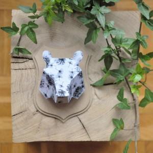 Trophée papier // tête d'ours // Illustration par La Robotte