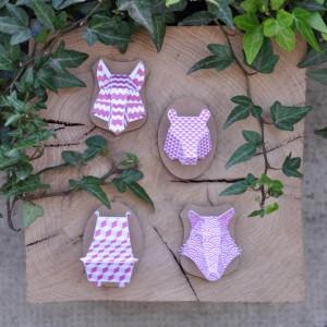 Minis trophées papier aimantés // rose