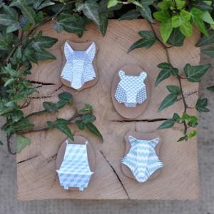 Minis trophées papier aimantés // turquoise