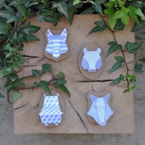Minis trophées papier aimantés // bleu